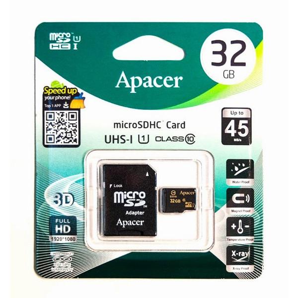 ΚΑΡΤΑ ΜΝΗΜΗΣ APACER MICRO SDHC UHS-1 CLASS10 32GB + 1 ADP