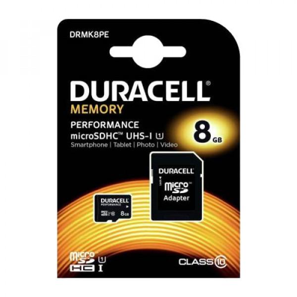 ΚΑΡΤΑ ΜΝΗΜΗΣ DURACELL DRMK8PE MICRO SDHC C10 8GB + 1 ADP