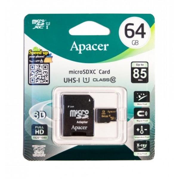 ΚΑΡΤΑ ΜΝΗΜΗΣ APACER MICRO SDHC C10 64GB + 1 ADP