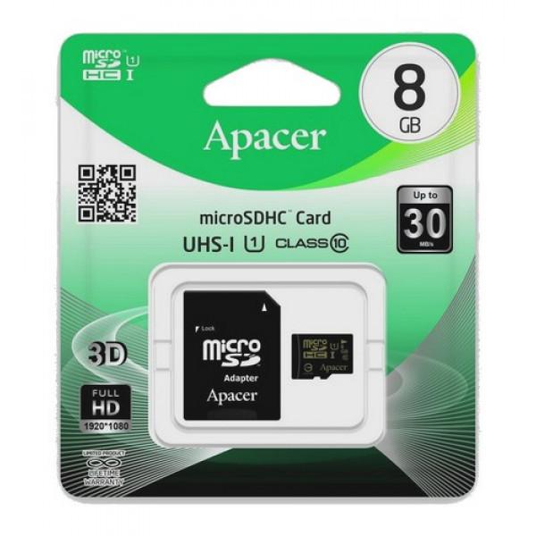 ΚΑΡΤΑ ΜΝΗΜΗΣ APACER MICRO SDHC C10 8GB + 1 ADP