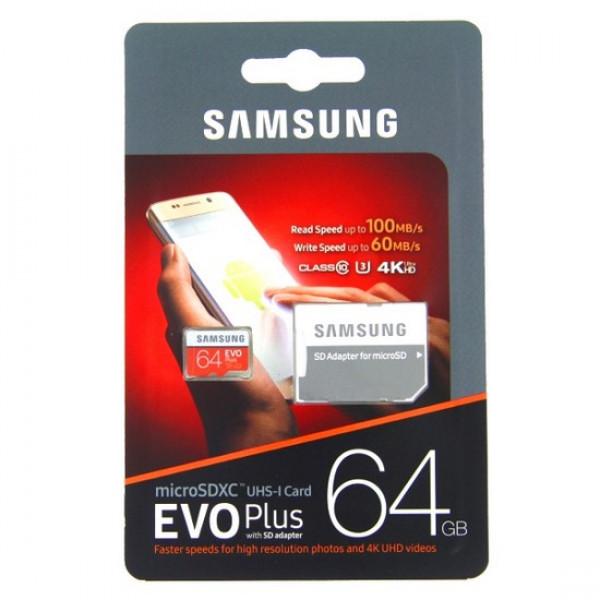 ΚΑΡΤΑ ΜΝΗΜΗΣ SAMSUNG MICRO SDXC C10 64GB EVO PLUS + 1 ADP
