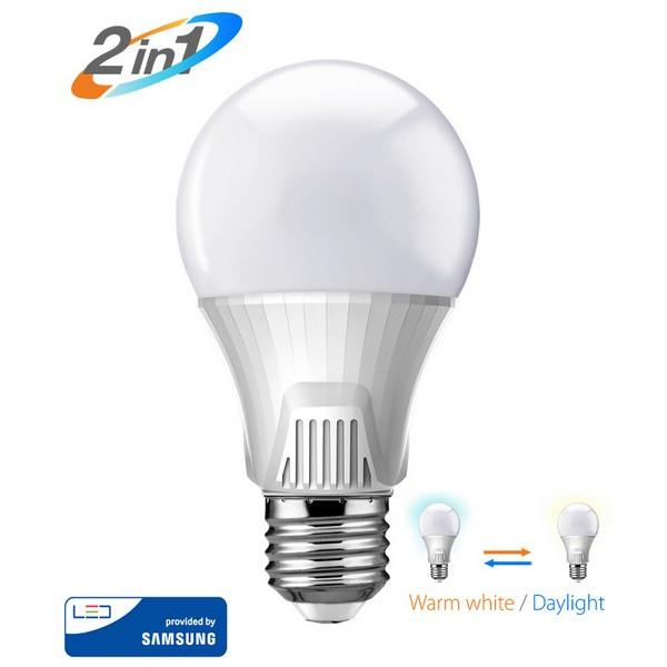 ΛΑΜΠΑ LED BULB 2 ΣΕ 1 E27 9W POWERTECH WARM WHITE 3000K & DAYLIGHT 6500K 810LM BY SAMSUNG