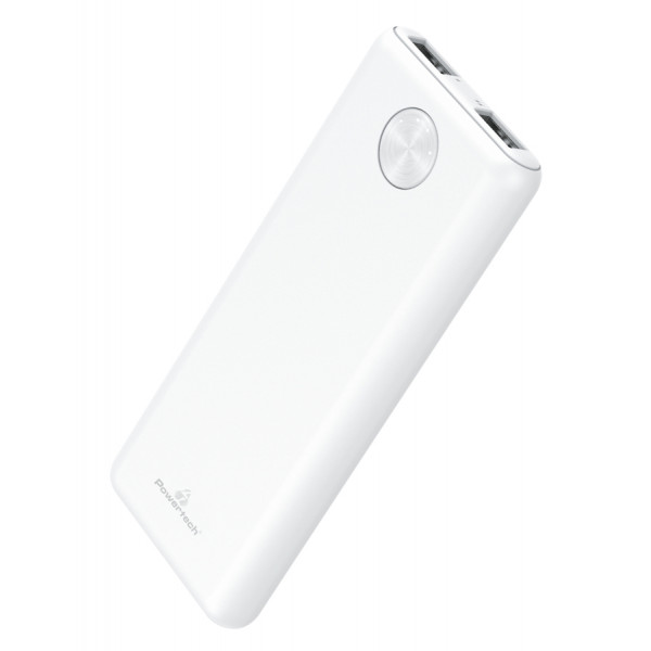 POWERTECH Power Bank PT-803 5000mAh, 2x USB Output, 2.1A, λευκό