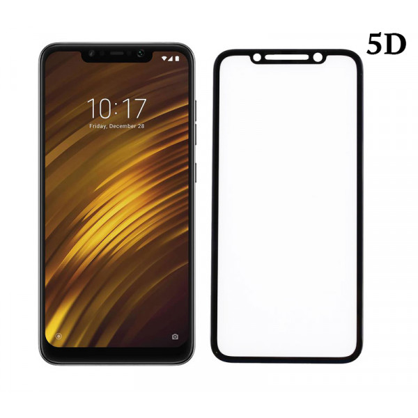 POWERTECH Tempered Glass 5D Full Glue για Pocophone F1 Qualcomm, μαύρο